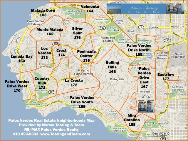 Palos Verdes Neighborhoods with real estate areas.