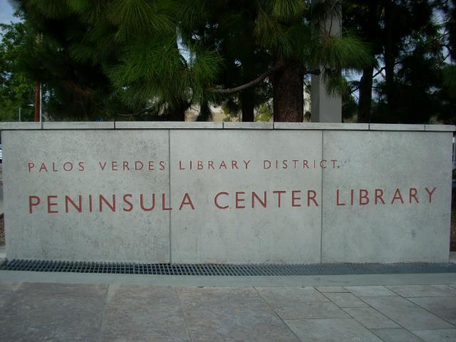 Peninsula Center Library Sign