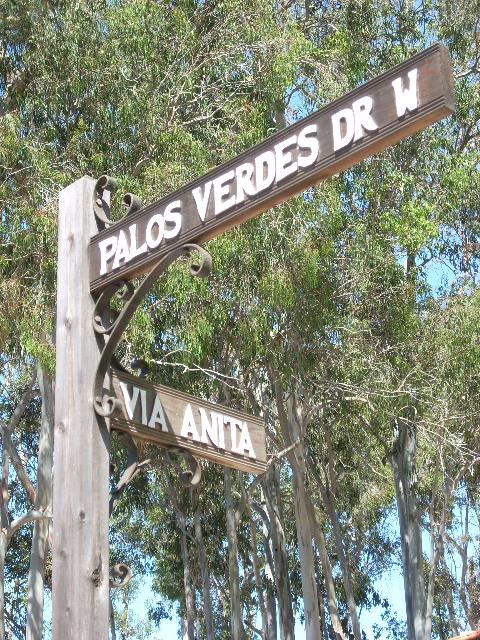 Street Sign Palos Verdes dr drive west via anita