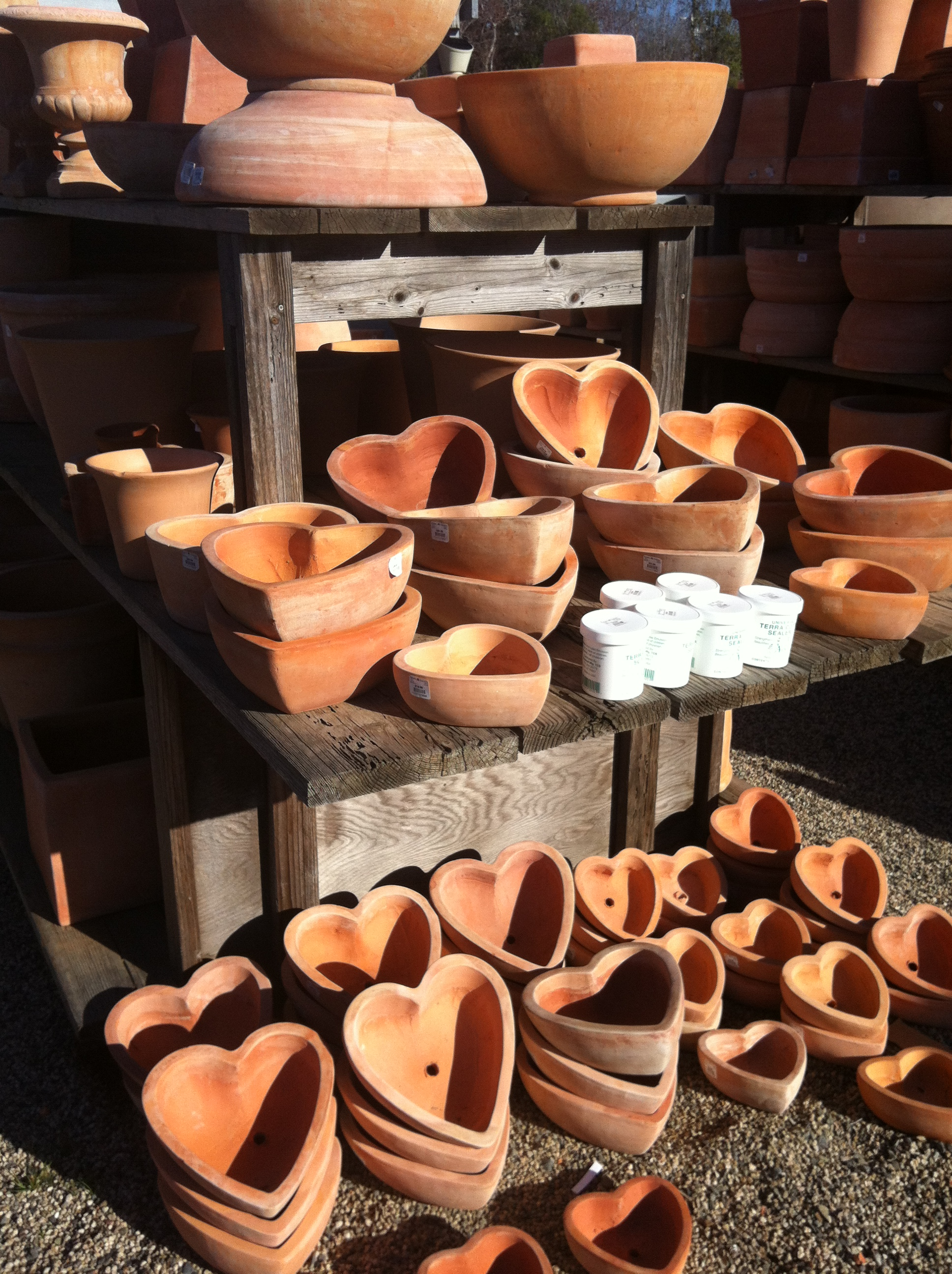 Pots for sale at Rogers Gardens