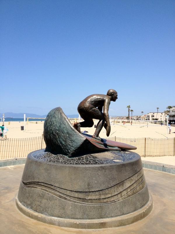 Hermosa Surfing Statue by Pier