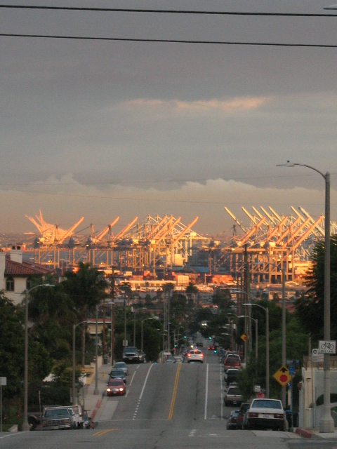 The cranes in San Pedro harbor