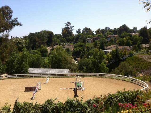 A Palos Verdes home with private riding ring.