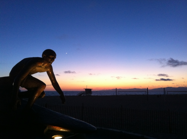 Surf Statue in Hermosa at Sunset