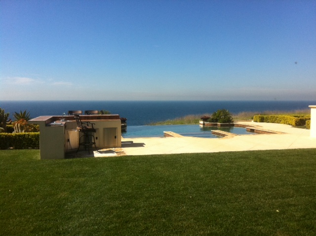 Backyard and pool with ocean view in Ocean Front Estates, Rancho Palos Verdes.